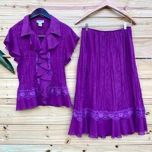 Vintage Amanda Lane 2-piece Blouse and Skirt Set